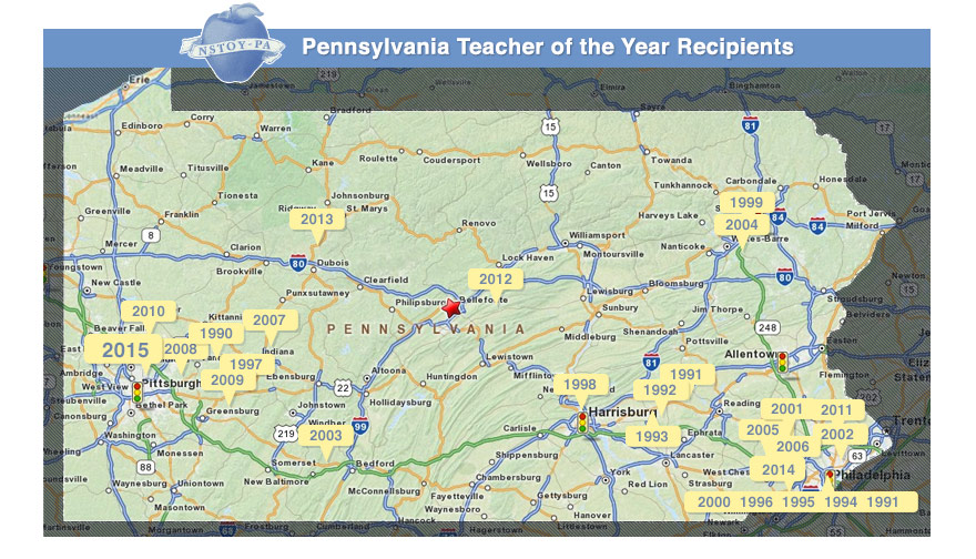 Pennsylvania Map showcasing previous winners of Teacher of the Year